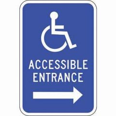 Accessible Symbol, Accessible Entrance with Right Arrow Sign