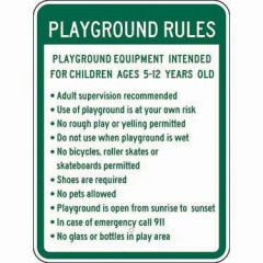 Playground Rules Playground Equipment Intended For Children Ages 5-12