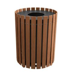 Round Slatted Trash Receptacles - Wood Grain Naturals